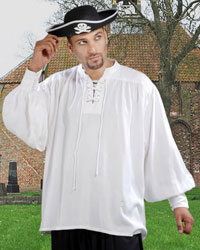 Capt. Quincy Pirate Shirt in white, also available in black, sizes to XXXL and X-Tall