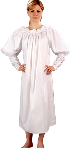 Renaissance Chemise in white cotton, one size fits all.