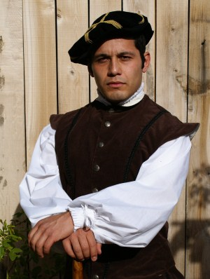 Renaissance Italian-style bonnet, cotton twill doublet and fancy shirt with knife ruffle pleats at cuffs and collar