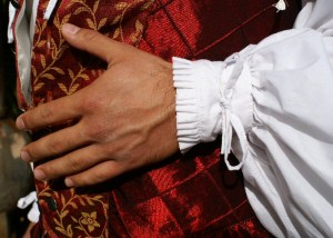 Close-up of knife-ruffled pleats and ties on the cuffr of the Renaissance Lord shirt