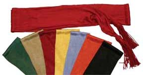 Satin sash with tassels in eight colors, 9 feet long, 5 inches wide.