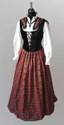 Scottish Lass Ensemble has a tartan skirt and triangular shawl in red or black plaid, chemise, and bodice