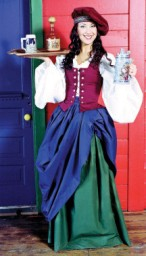 Serving wench wearing two gathered skirts--one green, one blue