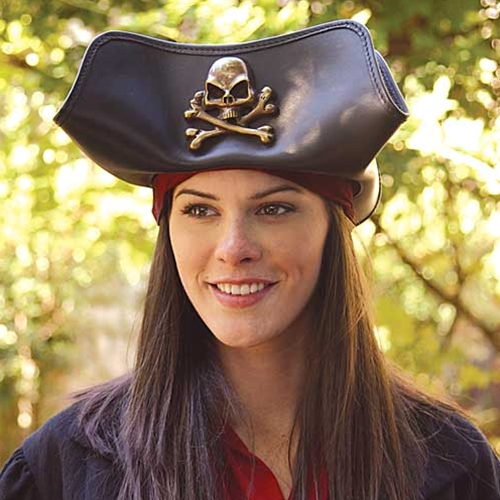 Black leather Pirate Hat with skull and crossbones emblem on front