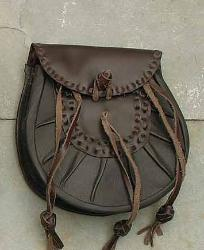 Brown Leather Sporran with Tied Tassles