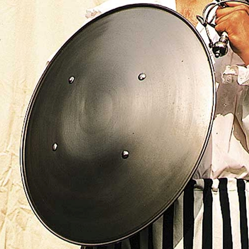 Steel domed round shield of a design that was used through 13th to 17th Centuries, 18-gauge steel, leather grips on back.  Minor assembly required.