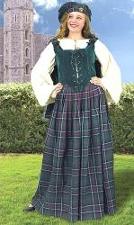 Stirling Scottish Ensemble--tartan plaid skirt with matching hat and short cape, ultra-suede lace-up vest in deep green.