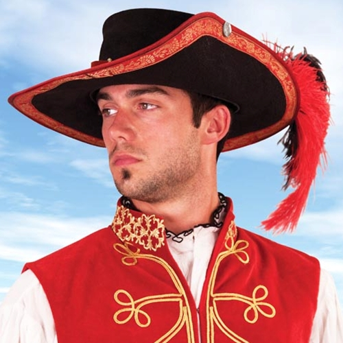 Black suede musketeer hat with red trim, matching red suede hatband