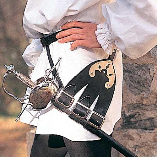 Black leather 3-forked sword belt
