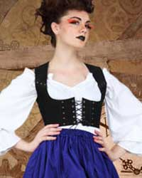 Tavern wench bodice in black faux leather.