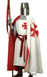 Templar Cape - full length in white with large red cross on left side, matching red lining.