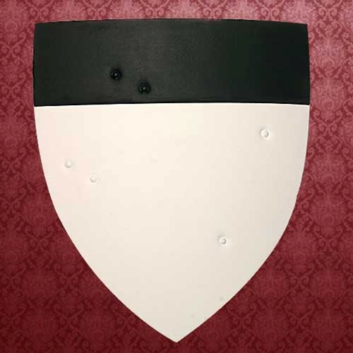 Templar Shield of curved wood padded with durable canvas, adjustable arm straps and padded arm guard.  Could be adapted to other designs.