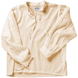 Collarless lace-up Renaissance shirt in natural