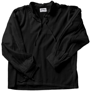 Collarless lace-up Renaissance shirt in black.