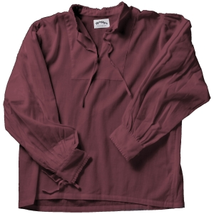 Collarless lace-up Renaissance shirt in burgundy.