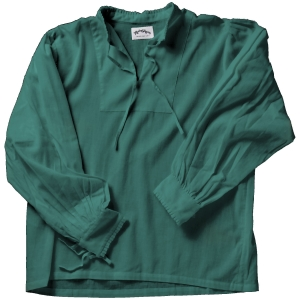 Collarless lace-up Renaissance shirt in forest green.