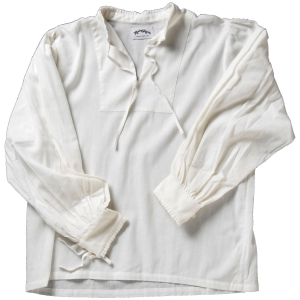 Collarless lace-up Renaissance shirt in white.