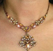 Necklace of sparkling faux topax stones.  Matching earrings available also.