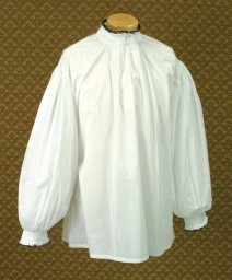 Tudor Court Shirt - bright white shirt with black-edged Tudor collar, frilled cuffs.