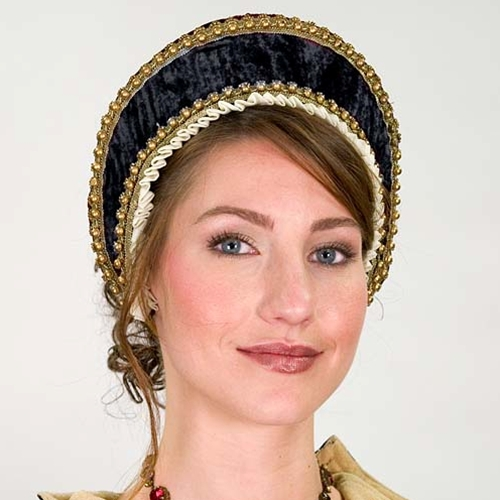 Tudor Hood in navy -- stiff brim in velvet, white Tudor edging with gold trim and ties