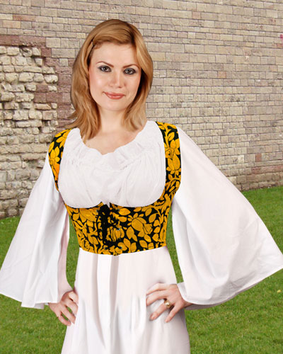 Under-bust bodice in gold and black floral.  Also available in fuschia and black.