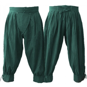 Pima cotton pirate pants in forest green