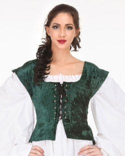 Velvet bodice in green, reverses to black
