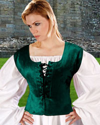 Reversible bodice in hunter green or burgundy velvet, reverses to black.