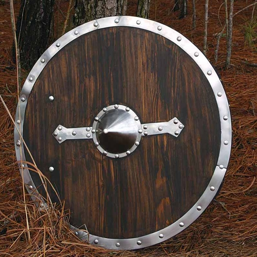Viking shield of wood pre-stained a dark brown with steel boss, decorative straps and rim, all bolted on.  Back is covered in felt with grip and arm strap.