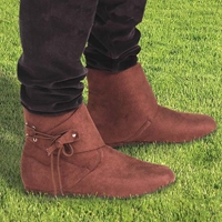 Medieval villager boots in faux suede, corded thong close, sizes 8-13.
