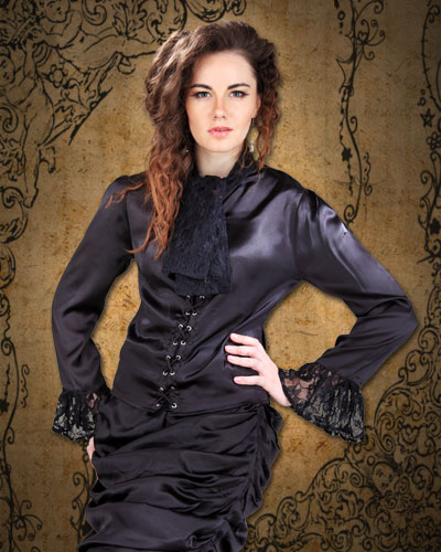 Wickfield blouse in black satin