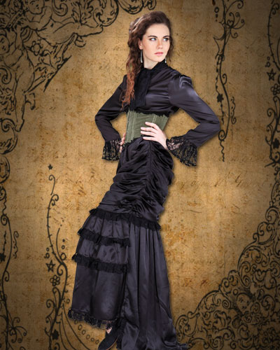 Wickfield Victorian Ensemble in black sat8n with moss velvet underbust corset