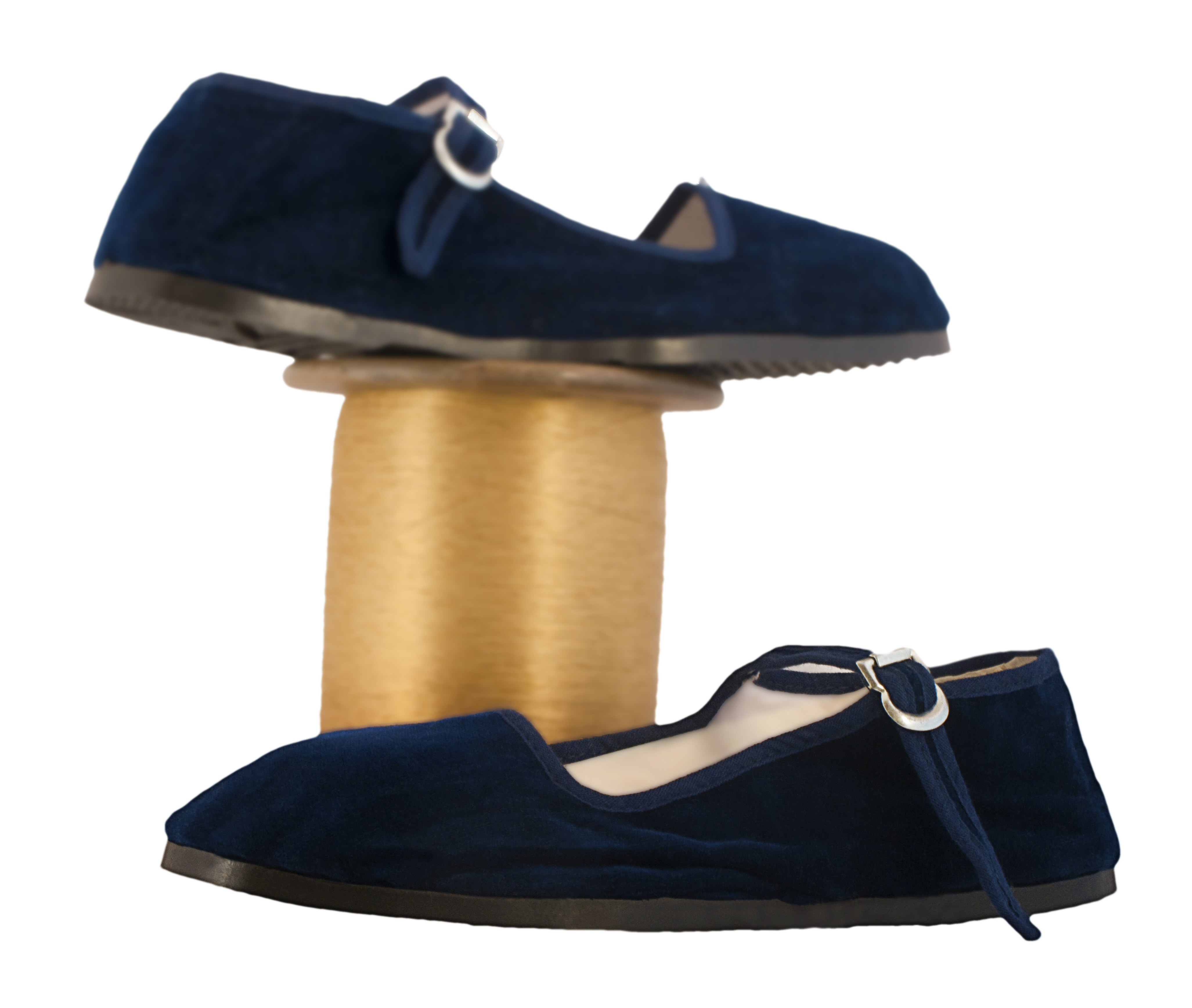 Womens Renaissance style shoes in blue velvet, four other colors available
